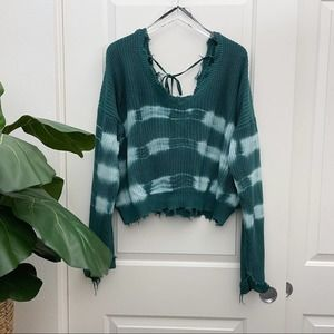 Forever 21 Distressed Sweater Tie Dye Green 2X